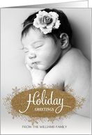 Holiday Greetings faux glitter snowflakes custom name photo card