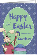 To Grandson, Hoppy Easter Bunny Artist painting egg card