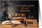 Judge Congratulations on Retirement Scales of Justice, Law Books, Gave card