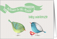 Welcome to the World New Baby little birdies custom name card