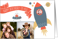 Birthday spaceship stars planet & alien - custom 3 photos card