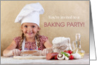 Invitation Baking Party Child in Chef Hat Rolling Dough card