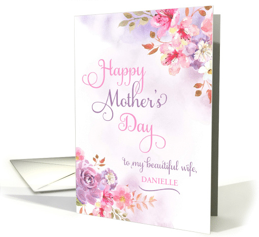 Personalize to Wife, Happy Mother's Day watercolor flowers card