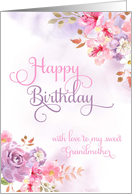 To Grandmother, Happy Birthday watercolor flowers card