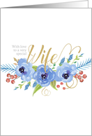Happy Mother's Day to a very special Wife watercolor flowers card