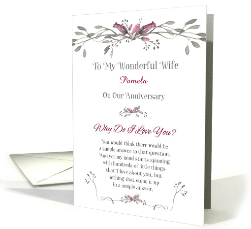 Anniversary to Wife Personalize with Name - Why Do I Love You card
