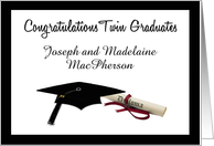 Black and White Congratulations Twin Graduates - Personalize Names card