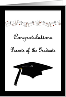 Black and White Congratulations Parents of the Graduate card