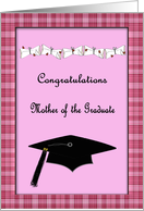 Pink & Plaid Congratulations Mother of the Graduate card