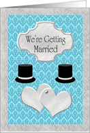 Gay Wedding Announcement - Silver Hearts & Top Hats card