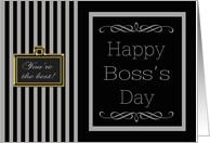 Happy Boss's Day - Grey & Black Pinstripes card