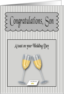 Wedding Day Congratulations Son from Dad -champagne Toast card