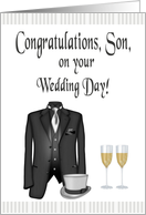 Congratulations, Son Wedding Day from Dad - Tuxedo, Hat & Champagne card