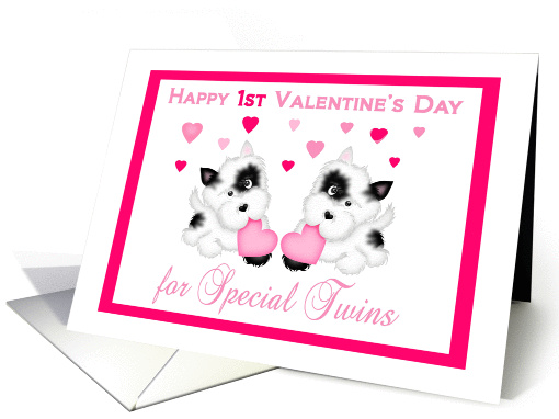 Twins 1st Valentine's Day - Puppies and Hearts card (1215398)