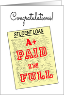 Student Loan Paid Off - Fake Loan Document card