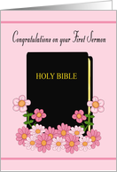 Congratulations on First Sermon (Female) - Bible and Flowers card