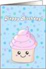 Cute Pink Cupcake - Happy Birthday card