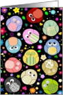 Cute and Colorful cartoon owls pattern any occasion blank note card