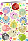 Rainbow multicolor artoon owls & flowers general occasion blank card
