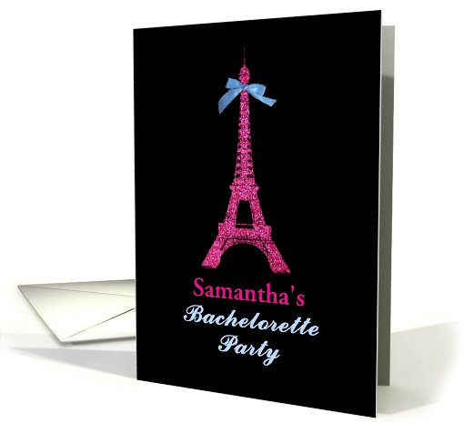 Girly Hot Pink Paris Eiffel Tower Bachelorette Party Invitation card