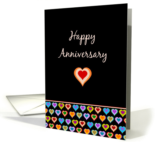 Happy Anniversary - Groovy colorful love hearts on black card