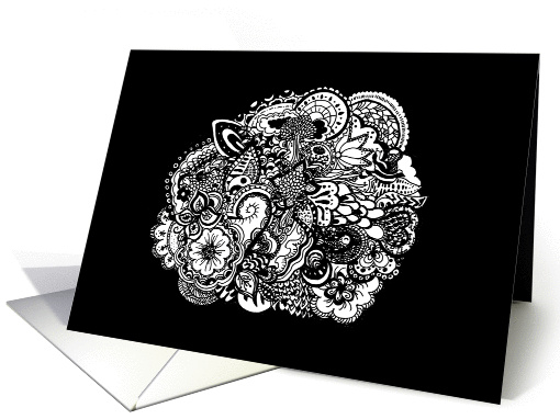 Black and white pen and ink abstract doodle art - any occasion card