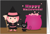 Happy Halloween with Cute Witch and Black Cat card