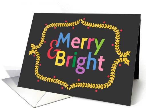 Colourful Merry and Bright Christmas Wreath card (1186300)
