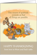 Dog and Cat Cornucopia to Mom and Dad card