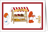 Dogs buying bakery sweets to a cocker spaniel to celebrate friendship card