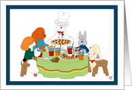 Five dogs having a pizza party card