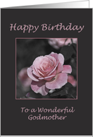 Pink Rose Happy Birthday Godmother card
