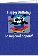 Birthday for Papaw - Little Skateboarder Panda Bear (Blue/Stars) card