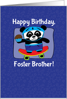 Birthday for Foster Brother - Little Skateboarder Panda Bear (Blue) card