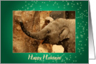 Little Elephant Stars Shower - Happy Holidays green - customized card