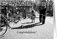 Walk safely first steps little girl - Congratulations black and white card