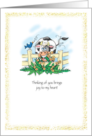 Friendship with Cow and Bird Thinking of You for Friend card