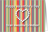 Awesome Grandson color stripes Valentine's Day card