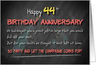 Champagne corks pop 44th Birthday Anniversary card