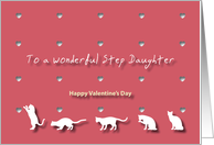 Cats Hearts Wonderful Step Daughter Valentine's Day card