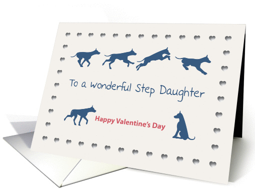Dogs Hearts Wonderful Step Daughter Valentine's Day card (1189296)