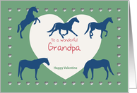 Horses Hearts Wonderful Grandpa Valentine card