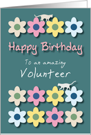 Amazing Volunteer Cats and Flowers Birthday card