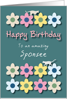 Amazing Sponsee Cats and Flowers Birthday card
