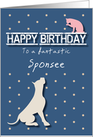 Fantastic Sponsee Birthday Golden Star Cat and Dog card