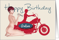 Naughty Pin Up with Motorcycle Birthday for Godson card