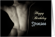 Sexy Man Back for Sponsee Birthday card