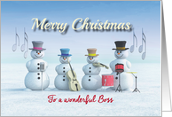 Christmas Music playing Snowmen for Boss card