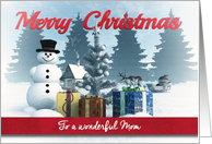 Christmas Snowman with Presents and Tree for Mom card
