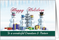 Happy Holidays Presents Snowmen and Tree for Grandson & Partner card